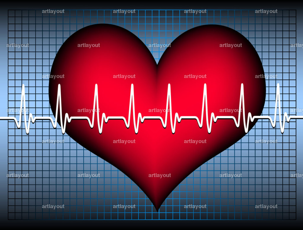 heartbeat white oszilogram shadowed