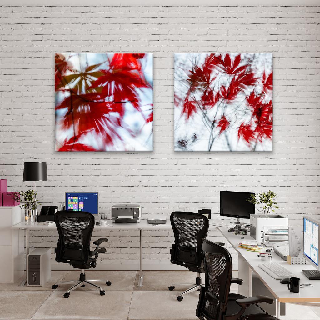 Abstrakte Herbstblätter für Coworking Space | Anwendungsbeispiel für eine Wanddekoration in einem Großraumbüro oder einem Coworking Space. Sie finden das Motiv in der Galerie Nimm drei - Pflanzen abstrakt
