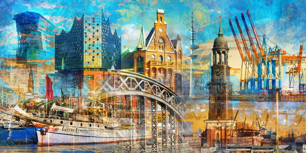 10191111 - Hamburg Collage 025 | Entdecken Sie unsere exklusiven modernen abstrakten Hamburg Collagen.