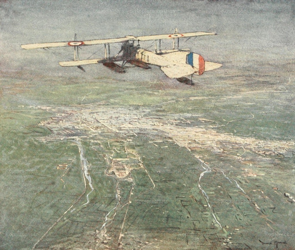 Maxwell_ Donald (1877-1936) - Naval Front 1920 - Sea-plane flying over Damascus
