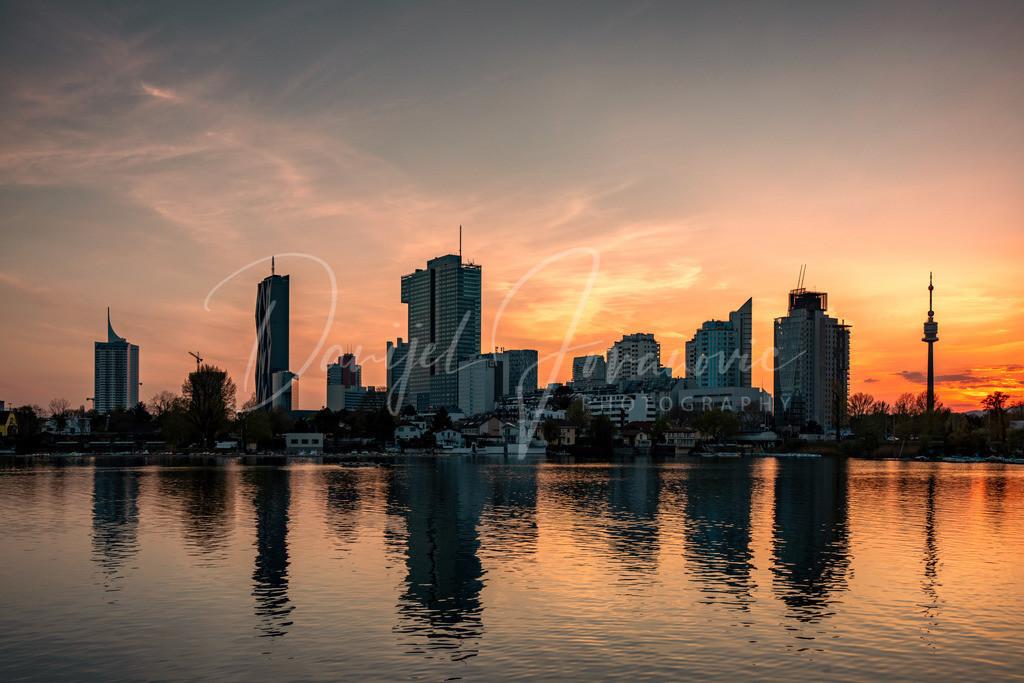 Sonnenuntergang | Sonnenuntergang an der alten Donau