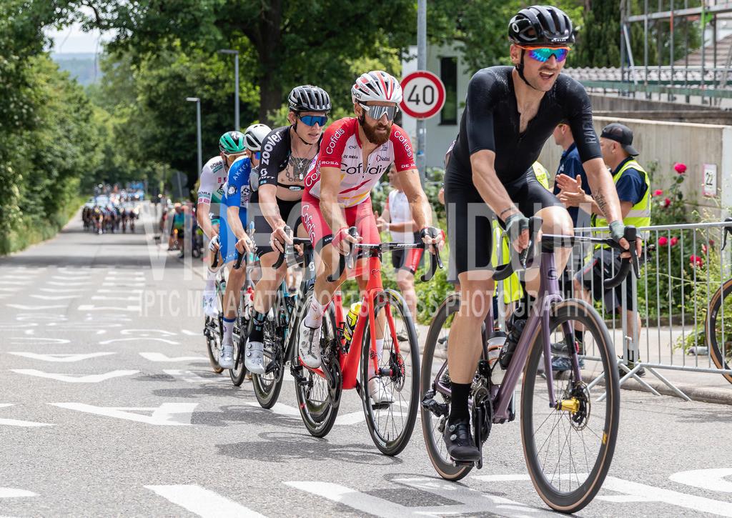 Stuttgart, Germany - June 19, 2021: Deutsche Straßenradmeisterschaften 2021, Straßenrennen, Männer   Stuttgart, Germany - June 19, 2021: Deutsche Straßenradmeisterschaften 2021, Straßenrennen, Männer, Simon Geschke (COFIDIS) vor Jascha Sütterlin (TEAM DSM), Photo: videomundum