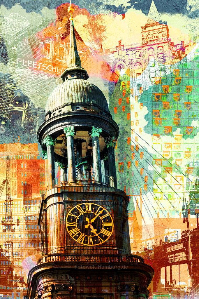 10200806 - Hamburg Collage 038 | Moderne Hamburg Fotocollage mit dem Michel im Fokus und Elbphilharmonie-, Speicherstadt- und Hafendetails im Hintergrund.