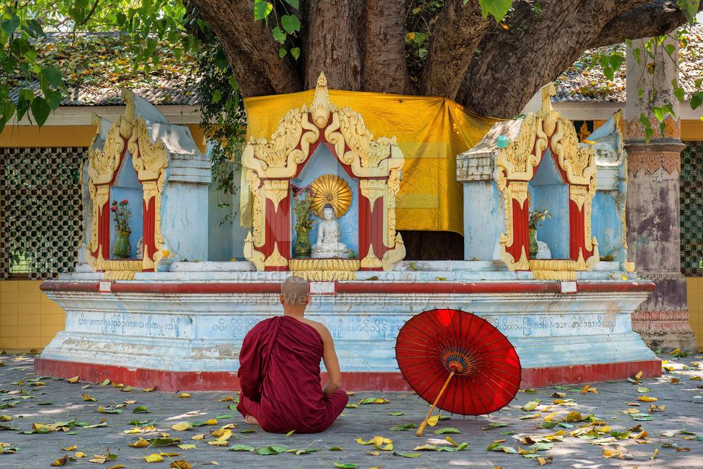 MW0115-8317 | Fotoserie DER ROTE SCHIRM | Buddhistischer Mönch beim Meditieren