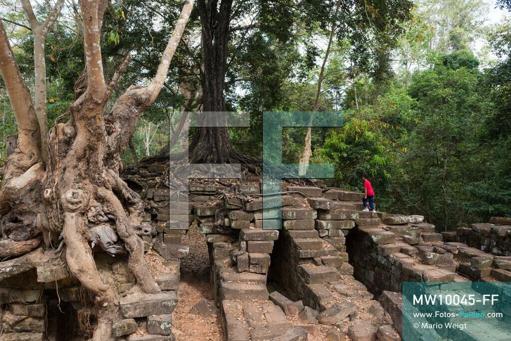 MW10045-FF | Kambodscha | Siem Reap | Reportage: Sombath erkundet Angkor | Sombath klettert auf Spean Thma, der ehemailgen Steinbrücke über den Siem-Reap-Fluss. Der achtjährige Sombath lebt in Kambodscha im Dorf Anjan, sechs Kilometer westlich von Siem Reap entfernt. In seiner Freizeit nimmt ihn manchmal sein Onkel in die berühmte Tempelanlage von Angkor mit. Besonders mag er die riesigen Wurzeln der Kapokbäume, die auf den uralten Mauern wachsen. Seine Lieblingstempel in Angkor sind Ta Prohm, Banteay Kdei und Preah Khan.  ** Feindaten bitte anfragen bei Mario Weigt Photography, info@asia-stories.com **