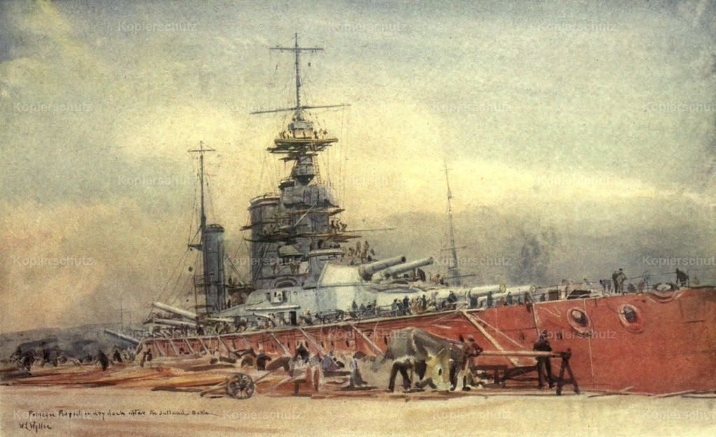 Wyllie_ William (1851-1931) - More Sea-fights of the Great War 1919 - Princess Royal in dry dock