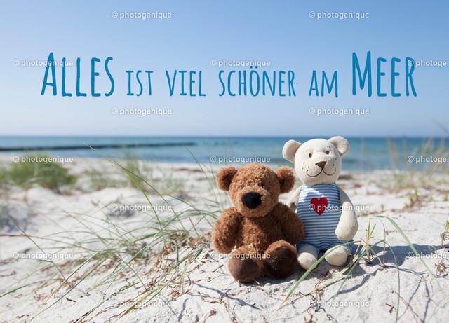 Urlaubskarte Alles ist viel schöner am Meer   Eine Postkarte zeigt zwei Teddybärenm, die am Strand sitzen bei Tageslicht mit blauem Himmel im Hintergrund und dem Text Alles ist viel schöner am Meer