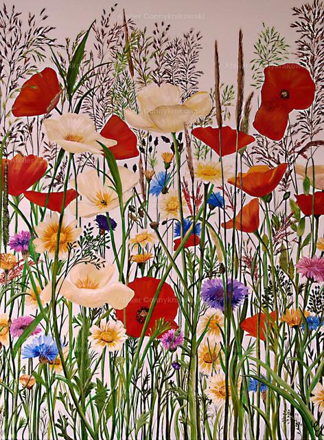 Blumenwiese | Phantastischer Realismus aus dem Atelier Conny Krakowski. Verkäuflich als Poster, Leinwanddruck und vieles mehr.