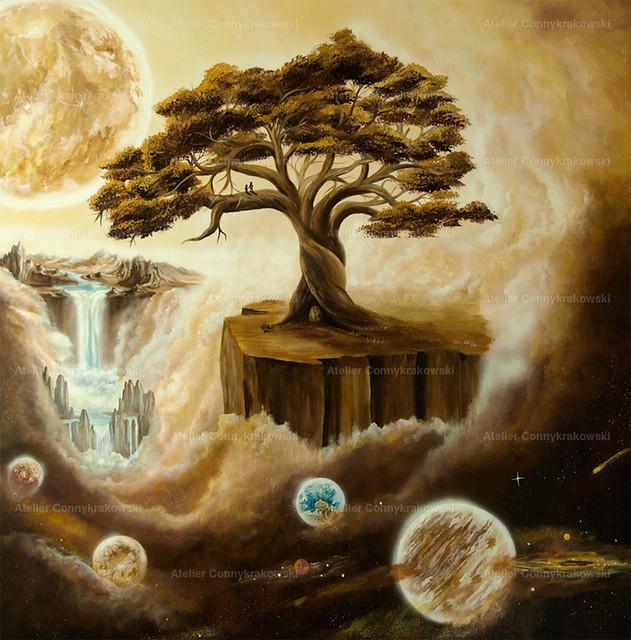 Baum auf Felsen 4000x300 | Phantastischer Realismus aus dem Atelier Conny Krakowski. Verkäuflich als Poster, Leinwanddruck und vieles mehr.