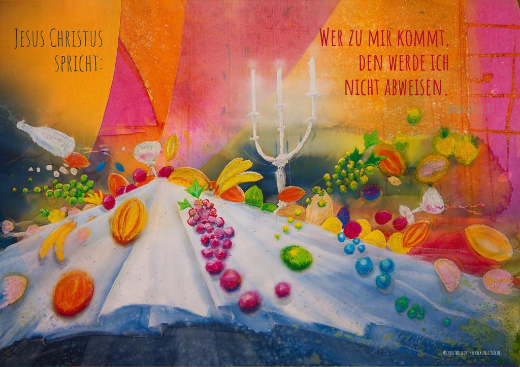 10-Jahreslosung 2022-Abendmahl_G | Jahreslosung 2022 Die Feier ohne Schwerkraft. Willkommen beim großen Abendmahl!