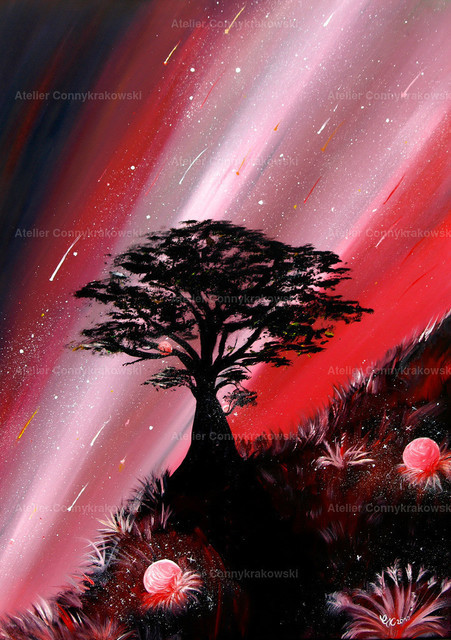 Red Planets C | Phantastischer Realismus aus dem Atelier Conny Krakowski. Verkäuflich als Poster, Leinwanddruck und vieles mehr.