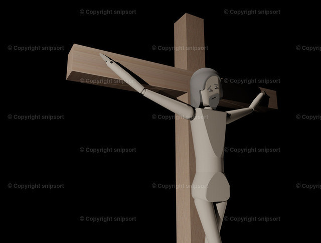 Jesus am Kreuz (3D-Rendering) | Leidender Jesus am hölzernen Kruzifix (3D Rendering)