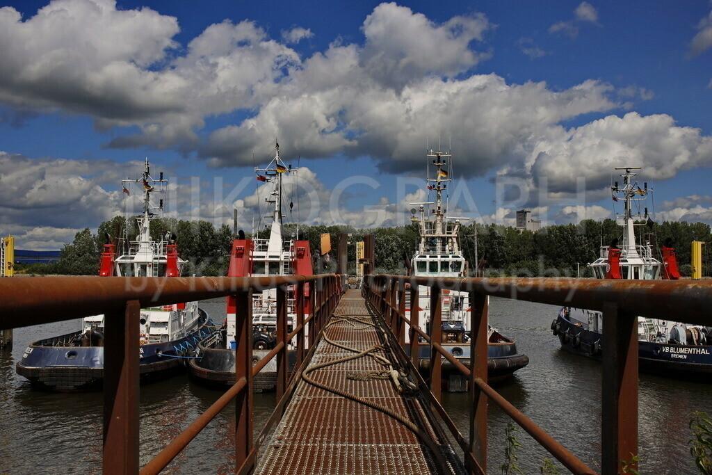 Hafenschlepper in Bremen   Schlepper am Liegeplatz Bremen Seehausen. Die Schlepper sind stark motorisiert und besonders wendig, um die großen Schiffe im Hafen zu rangieren.