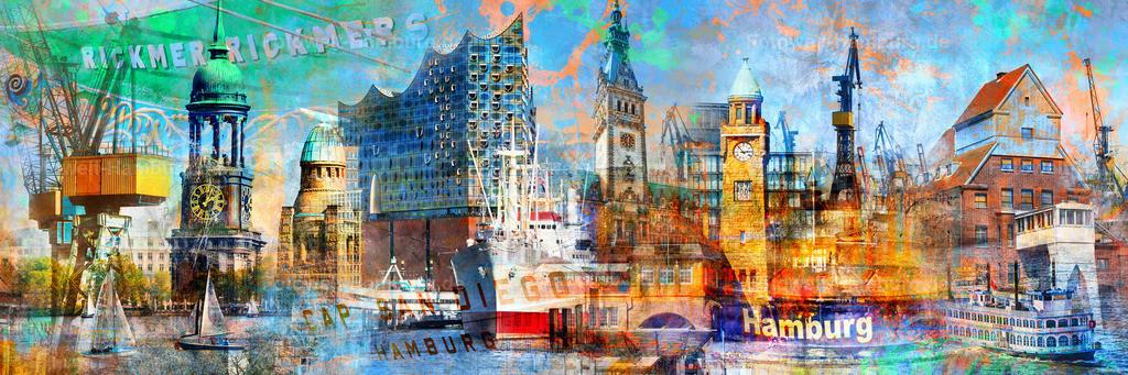 10200108 - Hamburg Collage 028 | Die neueste Ergänzung zu unseren beliebten Hamburg Collagen im Pop-Art Stil, diesmal im Panoramaformat.