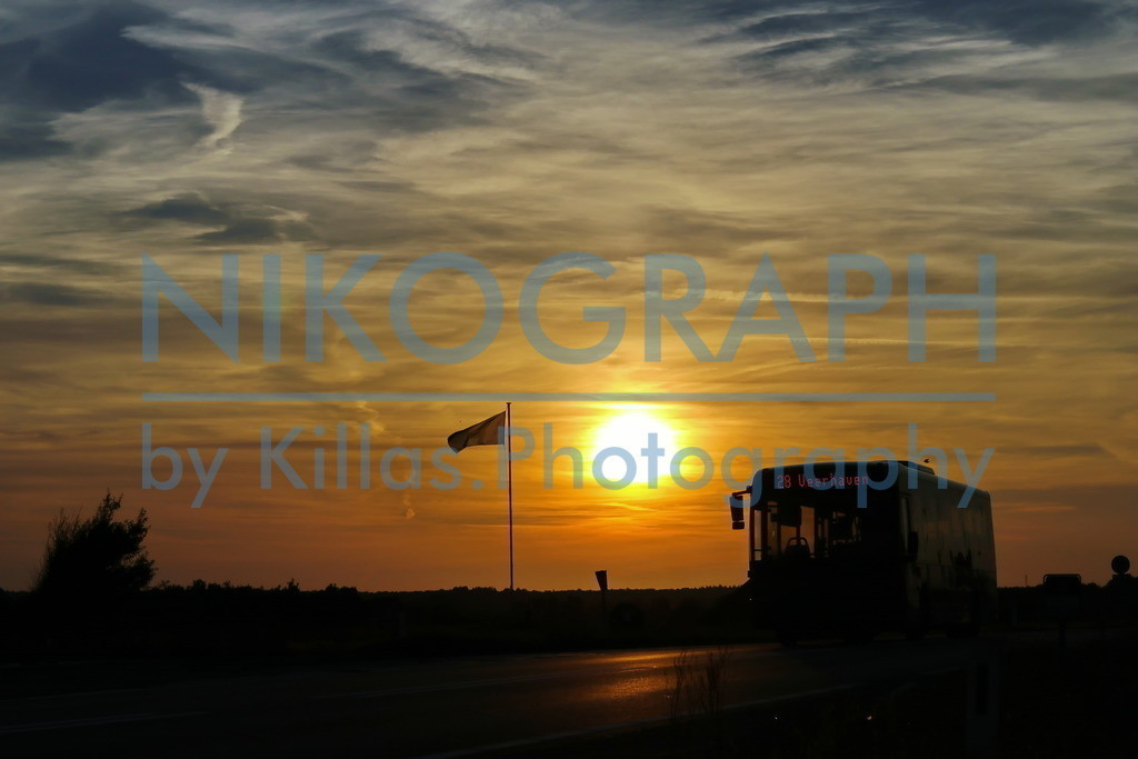 Bus im Sonnenuntergang | Ein Bus fährt unter der Abendsonne zum Fährhafen der Nordseeinsel Texel.