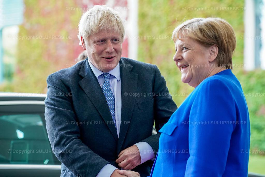 Boris Johnson in Berlin | 21.08.2019, der Premierminister des Vereinigten Königreichs, Boris Johnson von der Conservative and Unionist Party zu Besuch im Kanzleramt in Berlin. Der britische Politiker war gekommen, um mit der Kanzlerin über den Brexit zu verhandeln. Empfang durch die Bundeskanzlerin Angela Merkel.