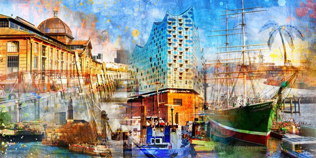 10190312 - Hamburg Collage 015 | Modernes Hamburg Wandbild mit vielen Details