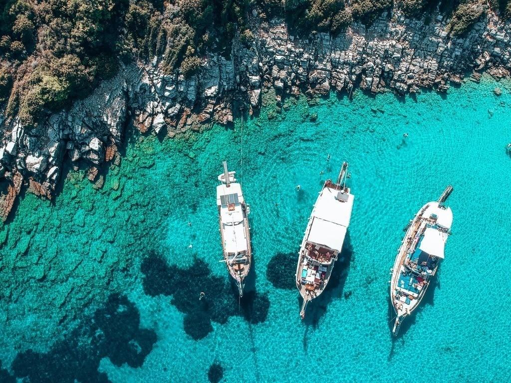 Isla Orak - Bodrum | Blick auf die Yachten vor der Insel in der Türkei