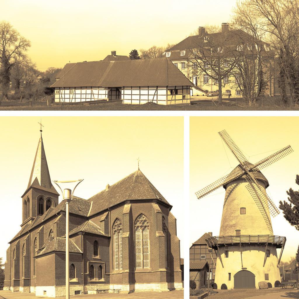 Westkirchener Sehenswürdigkeiten Schloss, Kirche und Mühle, sepia | Das Golddorf von 1979 Westkirchen im Münsterland bietet mit seiner alten Mühle, seiner gothischen Kirche und dem ehemaligen Schloss ein paar Sehenswürdigkeiten.