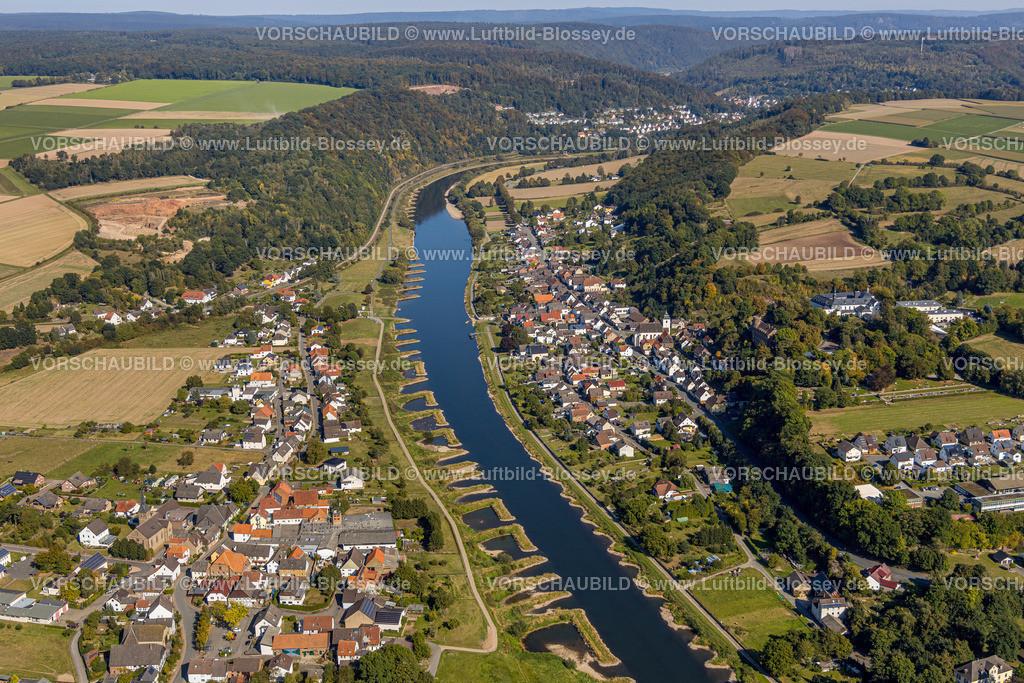 Beverungen200911530Weser_Herstelle | Luftbild, Fluss Weser, Würselen, Herstelle, Beverungen, Ostwestfalen-Lippe, Nordrhein-Westfalen, Deutschland