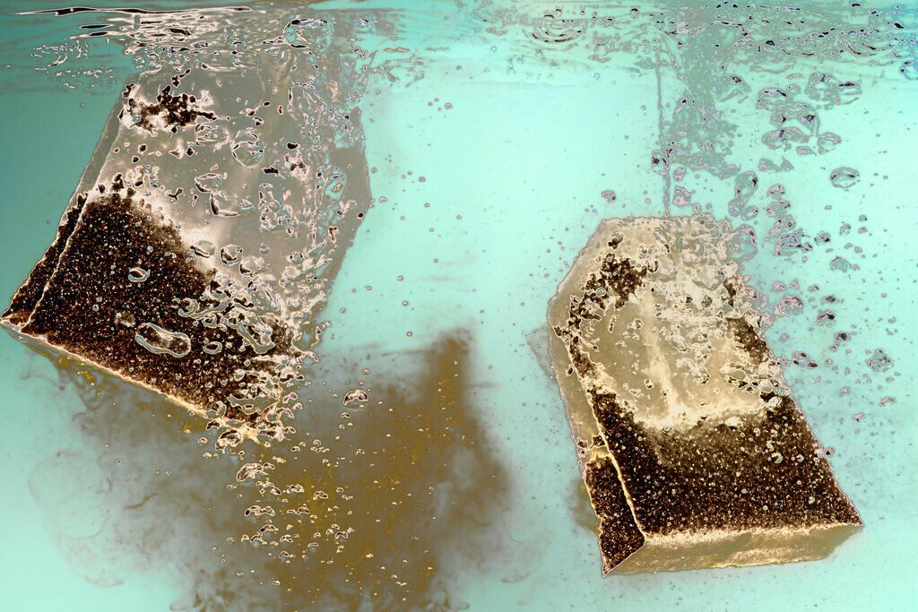 zu mir oder zu dir | zwei tanzende Teebeutel im Wasser im Dialog