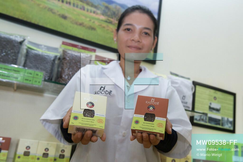 MW09538-FF   Kambodscha   Kampot   Reportage: Pfeffer aus Kampot   Unter dem Produktnamen Kadode Kampot Pepper wird der verarbeitete Pfeffer der Farm Link Ltd. verkauft. In der Umgebung von Kampot und Kep gibt es zahlreiche Pfefferplantagen.   ** Feindaten bitte anfragen bei Mario Weigt Photography, info@asia-stories.com **
