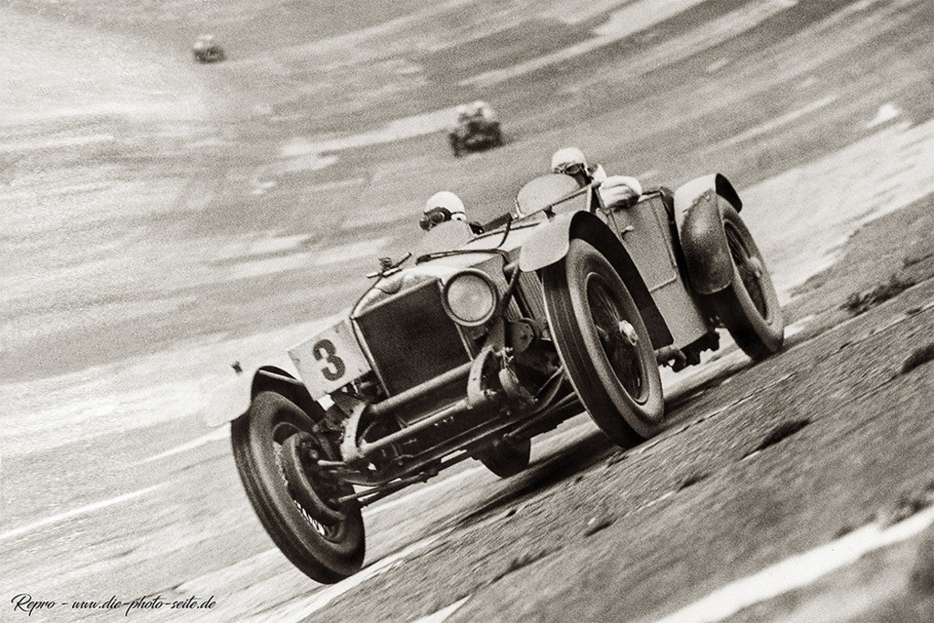 The DOUBLE TWELVE at Brooklands | G. Field on his Invicta at the top of the banking during the Double Twelve Hour Race.