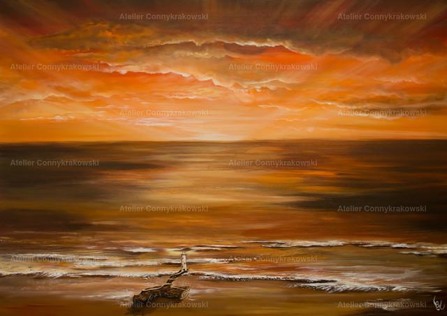 Sonnenuntergang mit Leuchtturm C | Phantastischer Realismus aus dem Atelier Conny Krakowski. Verkäuflich als Poster, Leinwanddruck und vieles mehr.