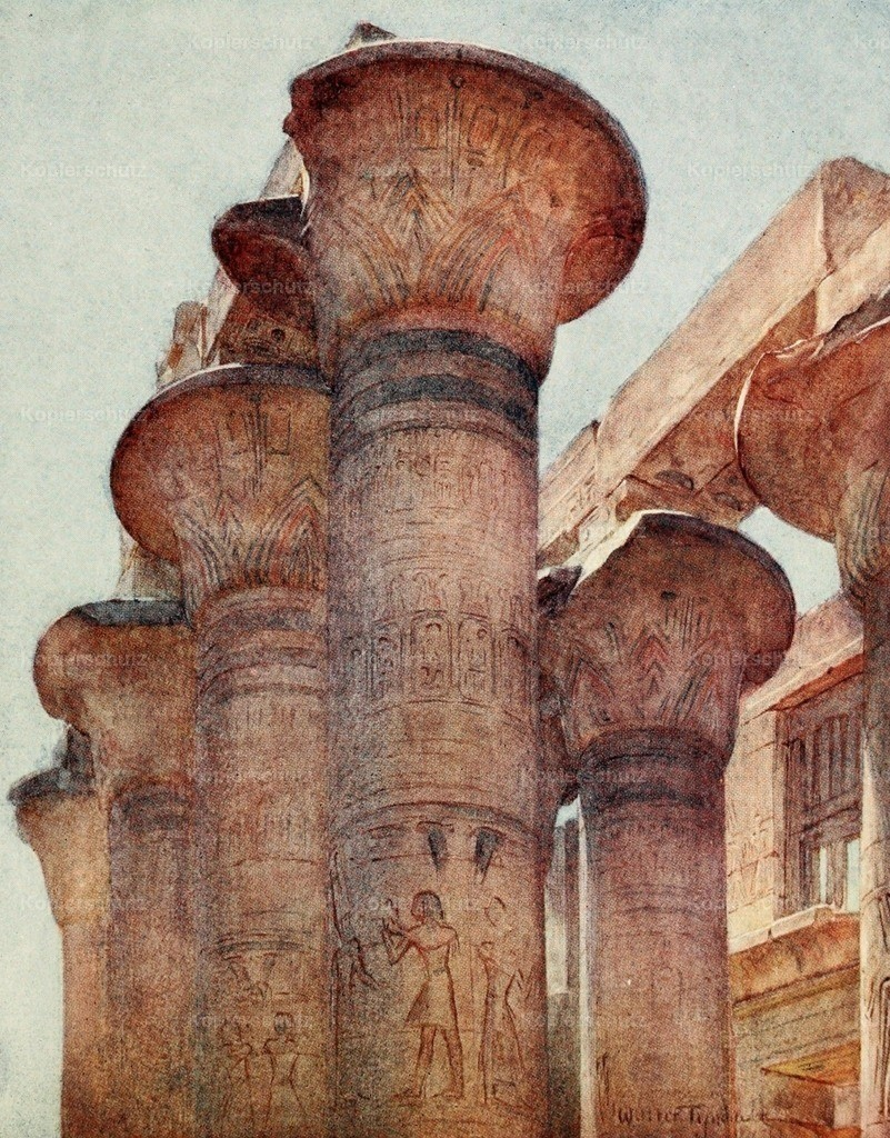 Tyndale_ W. (1855-1943) - Below the Cataracts 1907 - Capitals in Hypostyle Hall_ Karnak