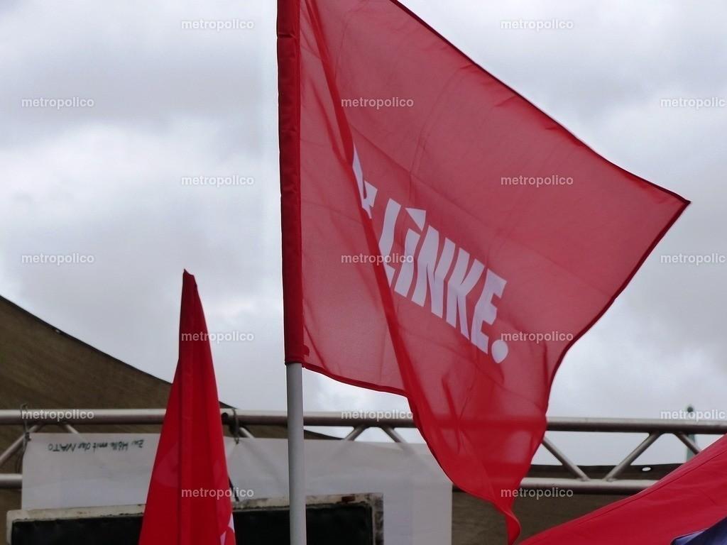 Die Linke Banner und Flagge weht (2)