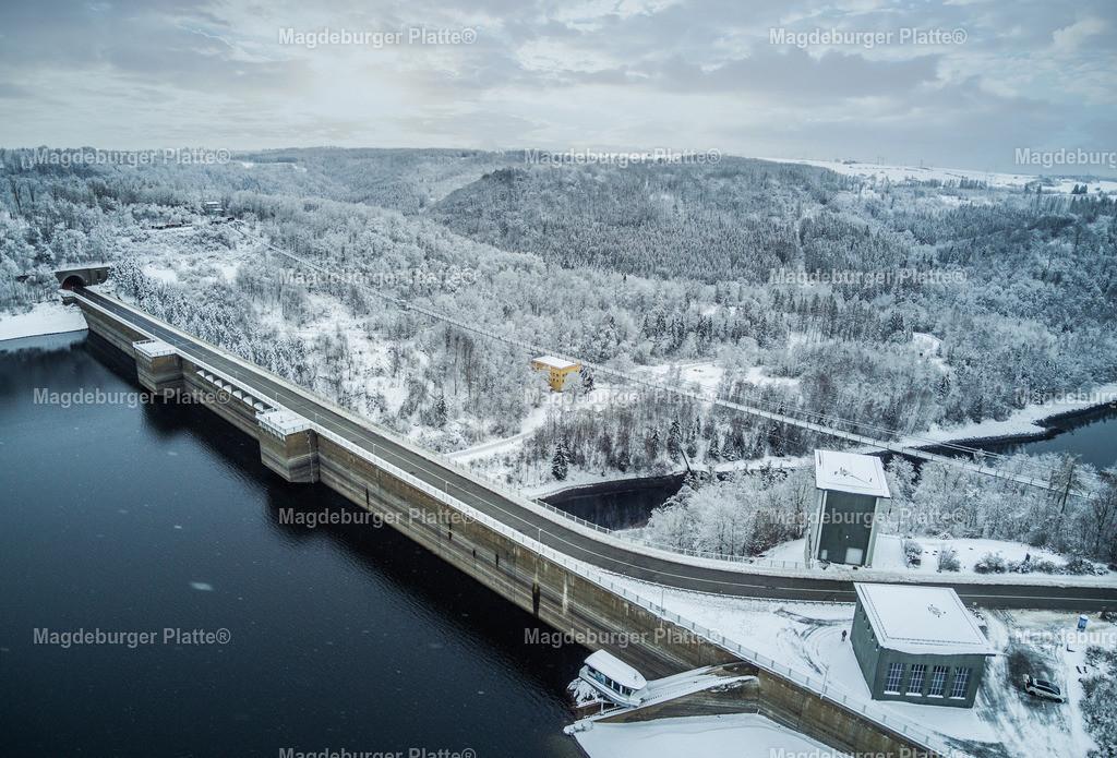 Talsperre Winter-0015-2 | Luftbilder aus der Vogelperspektive von Landkreis HARZ mit Drohne oder von oben fotografiert für die Bilddatenbank der Luftbildfotografie von Sachsen - Anhalt.