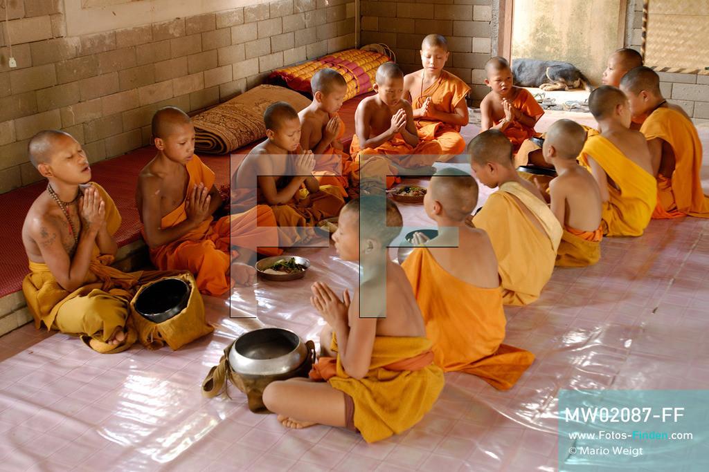 MW02087-FF | Thailand | Goldenes Dreieck | Reportage: Buddhas Ranch im Dschungel | Junge Mönche beten vor dem Essen  ** Feindaten bitte anfragen bei Mario Weigt Photography, info@asia-stories.com **