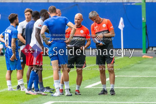 Fußball, Herren, Testspiel, Hamburger SV - FC Hansa Rostock, Volksparkstadion, 09.08.2020   Ronny Thielemann (Rostock Co-Trainer), Dirk Orlishausen (Rostock Torwart-Trainer)