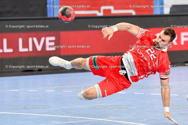 AUT, HLA, HC Linz AG vs Schwaz Handball Tirol   09.10.2021, Sporthauptschule Linz-Kleinmuenchen, AUT, HLA, HC Linz AG vs  Schwaz Handball Tirol, im Bild Dejan Babic (Linz)