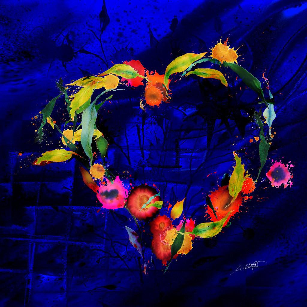Blumenherz blau 3D