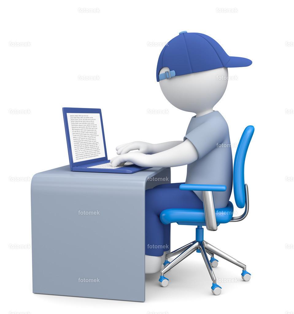 3d Männchen Homeoffice - Computer - Online