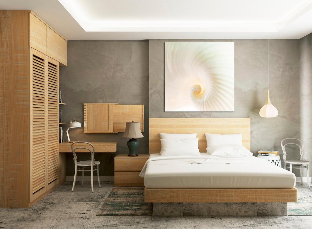 Elegante Muschelspirale fürs Schlafzimmer   Anwendungsbeispiel für die Gestaltung Ihres Schlafbereichs. Sie finden dieses Motiv in der Galerie Farben und Formen - Strukturen und Muster