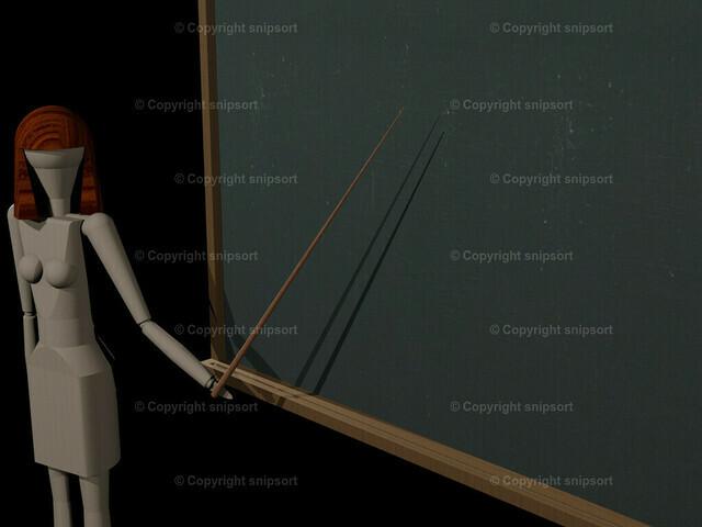 Lehrerin vor der Tafel (3D-Rendering) | Lehrerin vor einer Schreibtafel mit dem Zeigestock in der Hand (Tafel blank)