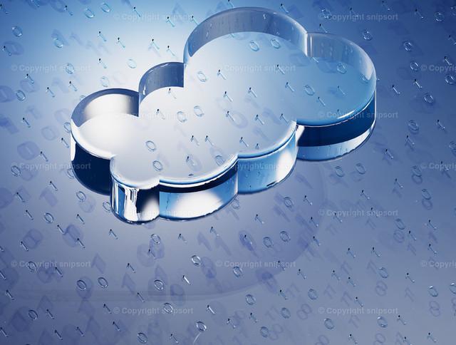 Datencloud   Konzept von binärer Speicherung in der Datenwolke (3D-Rendering).