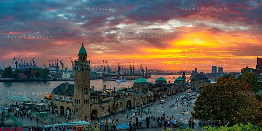 10200626 - Dramatischer Sonnenuntergang | Herrliche Lichtstimmung an den Landungsbrücken. Im Dock Elbe 17 kann man das ZDF-Traumschiff, die MS Amadea erkennen.