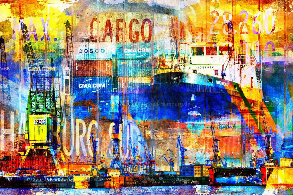 10210315 - Port of Hamburg III | Der Hamburger Hafen als moderne Fotocollage im Pop-Art Stil.