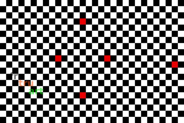fünf rote quadrate