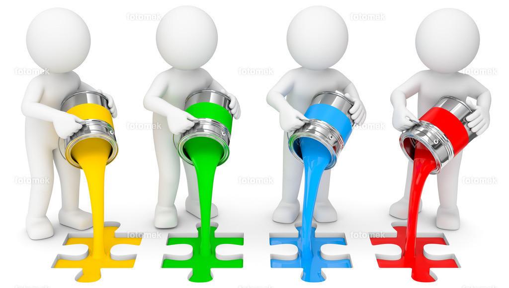 3d Männchen mit Farbeimer und Puzzle