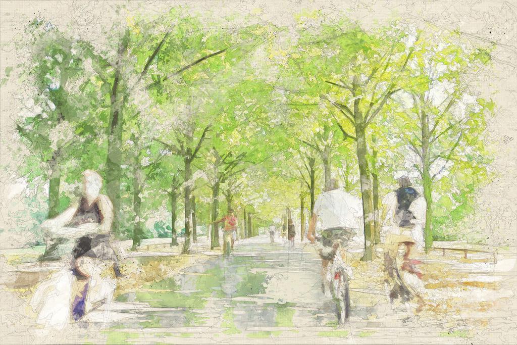 Münster - Promenade mit Radfahrern im Sommer   Münster - Promenade mit Radfahrern im Sommer