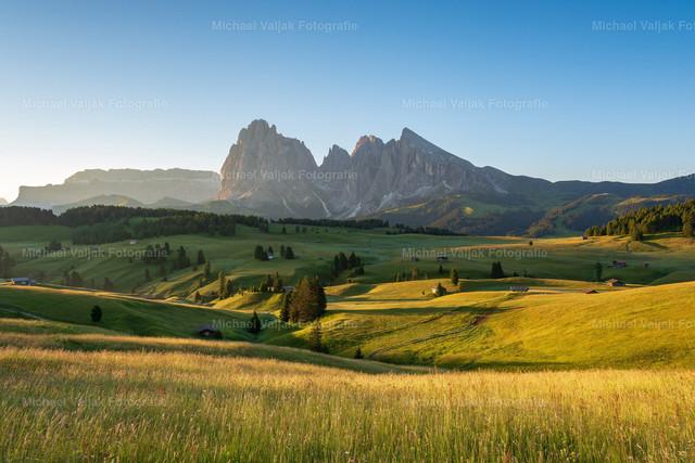 Sommermorgen auf der Seiser Alm  | Ruhig und friedlich ist die Seiser Alm am frühen Sommermorgen. Langsam kommt die Sonne über den Berg und die ersten Sonnenstrahlen treffen auf die saftigen Almwiesen.