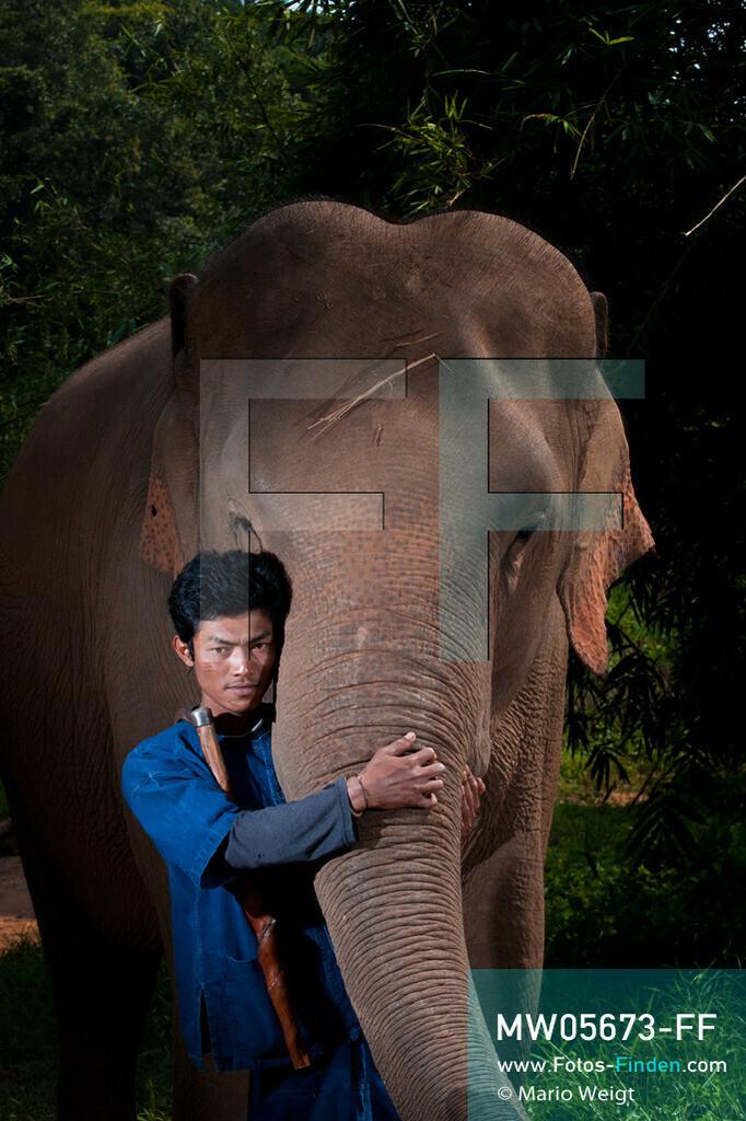 MW05673-FF | Thailand | Goldenes Dreieck | Reportage: Mahut und Elefant - Ein Bündnis fürs Leben | Mahut Kejo und sein Asiatischer Elefant Bo  ** Feindaten bitte anfragen bei Mario Weigt Photography, info@asia-stories.com **