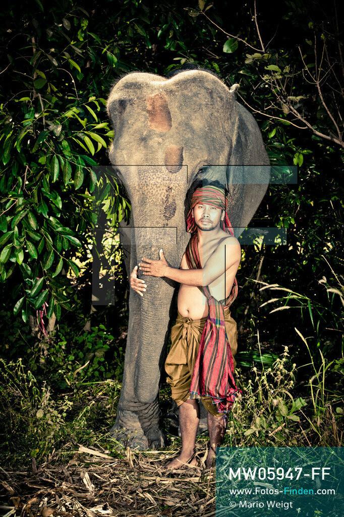 MW05947-FF | Thailand | Goldenes Dreieck | Reportage: Mahut und Elefant - Ein Bündnis fürs Leben | Mahut Bunpeng und sein Elefant Ay im Dorf Ban Ta Klang nahe Surin. Bunpeng gehört zur ethnischen Gruppe der Kui.  ** Feindaten bitte anfragen bei Mario Weigt Photography, info@asia-stories.com **