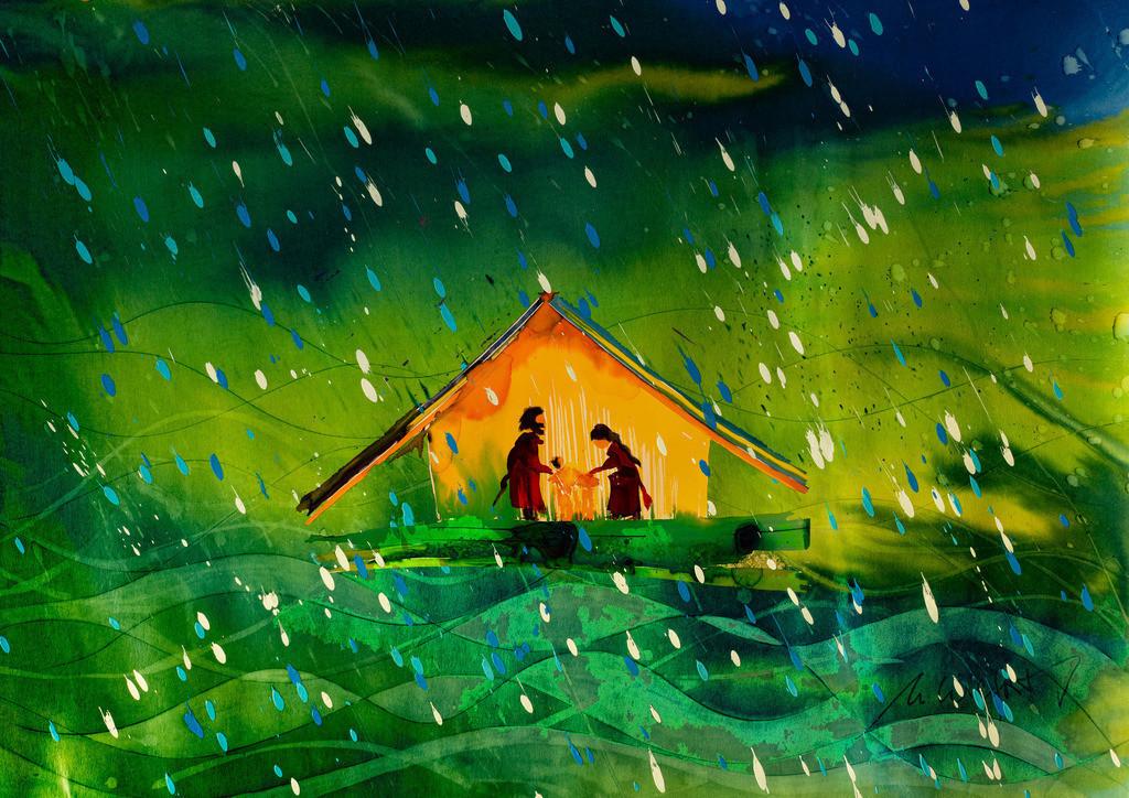 Weihnachten friedlich | Wie eine Arche in wilder Flut, das friedliche Kind in einem Stall beides aus Holz alle aus Mensch eines von Gott