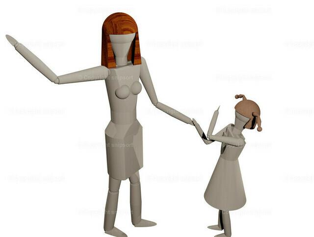 FrAU_Tochter_Gewalt_de | Mutter holt aus, um ihre Tochter zu schlagen (3D-Rendering)