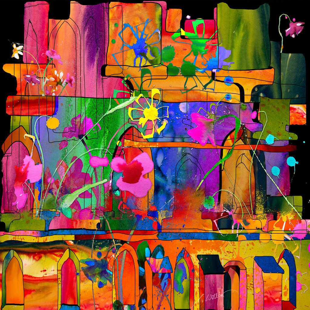 Klosterblumen mit Haus _quadratisch | Weil sie mich begeistern, die freien Blumen im Sommer. Motive der 360°  Lichtkunstausstellung im Klosterhof Blaubeuren